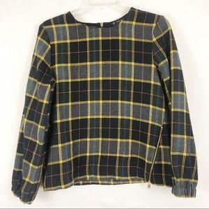 🎉 Zara Yellow Black Plaid Long Sleeve Top Sz M